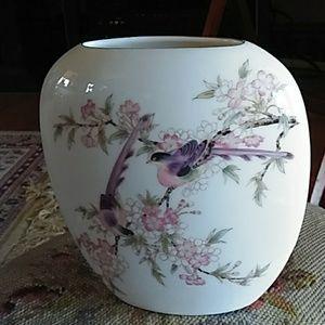 Asian look bird in flowers bud vase